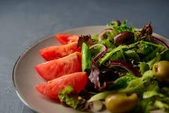 Le plan rapproché a cultivé la photo de la salade fraîche de vitamine de ressort Photo stock