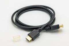 Le plan rapproché d'un nouveau 4K préparent le câble de connectivité de HDMI utilisé pour un 4K TV Photo stock