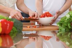 Le plan rapproché de deux femmes font cuire dans une cuisine Amis ayant l'amusement tout en préparant la salade fraîche Photographie stock