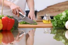 Le plan rapproché de deux femmes font cuire dans une cuisine Amis ayant l'amusement tout en préparant la salade fraîche Images libres de droits
