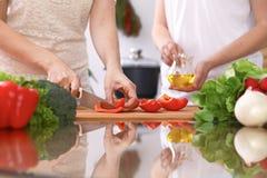 Le plan rapproché de deux femmes font cuire dans une cuisine Amis ayant l'amusement tout en préparant la salade fraîche Photo stock