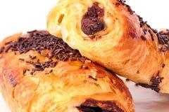 Chocolat de croissants Photographie stock
