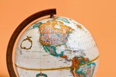 Le plan rapproché de globe avec les Amériques Images stock