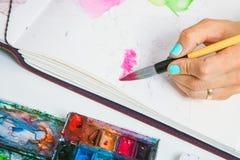 Le plan rapproché de l'artiste dessine image libre de droits