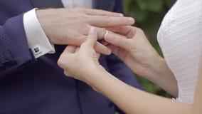 Le plan rapproché de la jeune mariée met dessus le marié d'anneau banque de vidéos