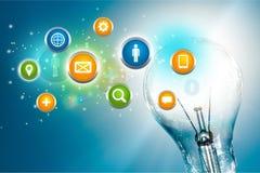 Le plan rapproché de numérique se connecte le fond d'ampoule photos libres de droits