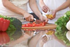 Le plan rapproché de quatre mains humaines font cuire dans une cuisine Amis ayant l'amusement tout en préparant la salade fraîche Photos stock