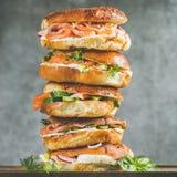 Le plan rapproché des bagels amassent avec les saumons fumés, oeufs, légumes, crème-fromage Photos libres de droits