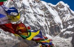 Le plan rapproché des drapeaux tibétains colorés de prière déplacés par le vent et la montagne couronnée de neige d'Annapurna a b photo libre de droits
