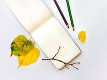 Le plan rapproché du carnet et du crayon, décoré du jaune d'automne part et s'embranche Vue supérieure, configuration plate Image libre de droits