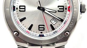 le plan rapproché a isolé le poignet de blanc de montre de l'homme s images libres de droits