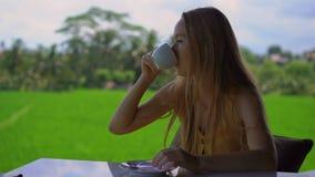 Le plan rapproché a tiré d'un thé ou d'un café potable de jeune femme dans un café rural avec un gisement de riz à un fond banque de vidéos