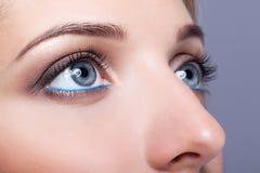 Le plan rapproché a tiré des yeux femelles avec le maquillage de jour Photo stock