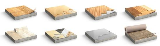 Le plancher dactylographie le revêtement Installation de plancher Placez des morceaux de dif illustration stock