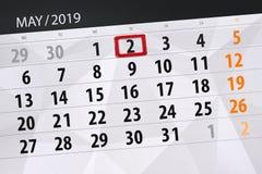 Le planificateur de calendrier pour le mois peut 2019, jour de date-butoir, jeudi 2 photos libres de droits