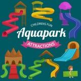Le plastique glisse pour le parc aquatique sur un fond blanc illustration libre de droits