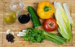 Le plat avec de la salade de légumes frais La fille montre le plat Photos libres de droits