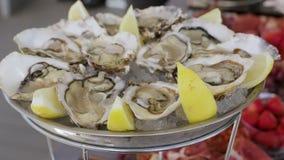 Le plat avec des huîtres banque de vidéos