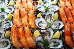 Le plat de fruits de mer a placé sur la glace se vendant au marché Fermez-vous vers le haut du détail sur s photographie stock libre de droits