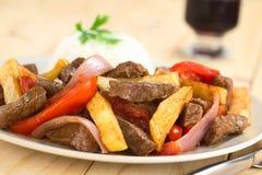 Le plat de Peruvan a appelé Lomo Saltado photos stock