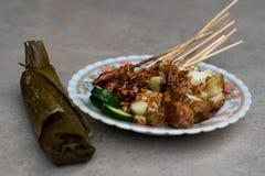 Le plat satay de nourriture de rue de poulet complet avec de la sauce douce brune ? arachide, des tranches de g?teau de riz et de image libre de droits