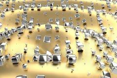 Le platine d'or argenté ou blanc bloque des cubes au-dessus de fond de vague de jaune en métal Modélisation de l'illustration 3d  photo libre de droits