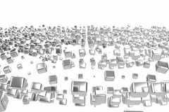 Le platine d'or argenté ou blanc bloque des cubes au-dessus du fond blanc Modélisation de l'illustration 3d bitcoin riche d'explo illustration de vecteur