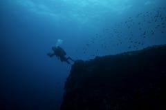 Le plongeur autonome entre dans le profond Images libres de droits