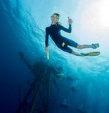 le plongeur libèrent Image libre de droits