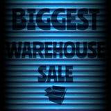 Le plus grand bleu de vente d'entrepôt Images stock