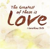 Le plus grand de ces derniers est amour Images libres de droits