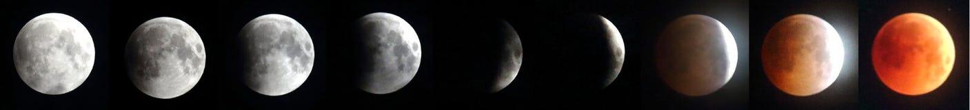 Le plus long Eclipes lunaire - lune rouge 2018 photographie stock libre de droits