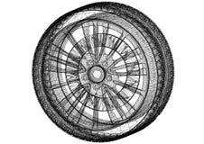 Le pneu et la jante de voiture conçoivent - architecte Blueprint - d'isolement illustration stock