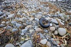 Le pneu jeté salit une plage, Irlande Image stock