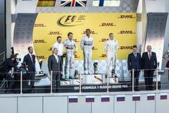 Le podium du Grand prix de la Russie Le président russe du Image stock