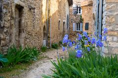 Le Poet Laval. Medieval village of Le Poet Laval in the Drome area in France royalty free stock images