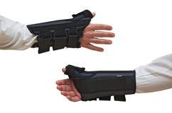 Le poignet et le pouce attachent des vues de dos d'avant d'attelle image stock