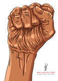 Le poing serré a tenu la haute dans le signe de main de protestation, africain Photos stock