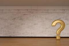 Le point d'interrogation d'or se connectent l'illustration du bois du plancher 3D illustration libre de droits