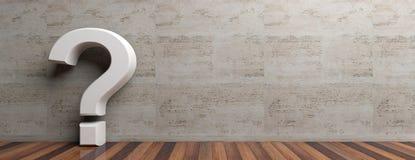 Le point d'interrogation sur le plancher en bois et le marbre murent le fond Photographie stock