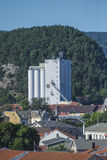 Le point de repère, halden le silo de grain Photographie stock libre de droits