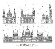 Le point de repère hongrois de voyage des bâtiments historiques amincissent la ligne ensemble d'icône Photos libres de droits