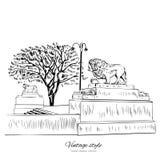 Le point de repère Russie de St Petersburg de silhouette de lion, dirigent l'illustration gravée tirée par la main, croquis d'enc Photographie stock