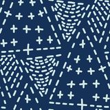 Le point de style japonais de bleu d'indigo raye le modèle sans couture de vecteur Sashiko tiré par la main illustration de vecteur