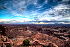 Le point de vue grand donnent sur en parc national de Canyonlands Photos stock