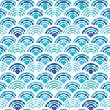 Le poisson bleu et blanc mesure le fond de squama, modèle sans couture de tissu de vecteur, copie carrelée de textile Japonais cl illustration de vecteur