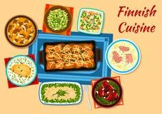 Le poisson de cuisine et le dîner finlandais de viande bombe l'icône illustration de vecteur