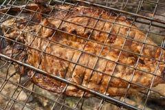 Le poisson frais avec de la sauce a fait cuire sur un gril de flamme nue Photos libres de droits