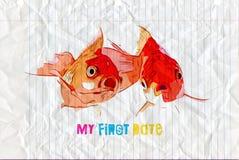 Le poisson rouge deux a fait un aspect de surprise dans le premier match illustration libre de droits