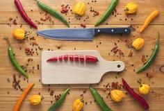 Le poivre de piments coupé de Cayenne sur la planche à découper avec le couteau et autre poivre tous autour Photos libres de droits